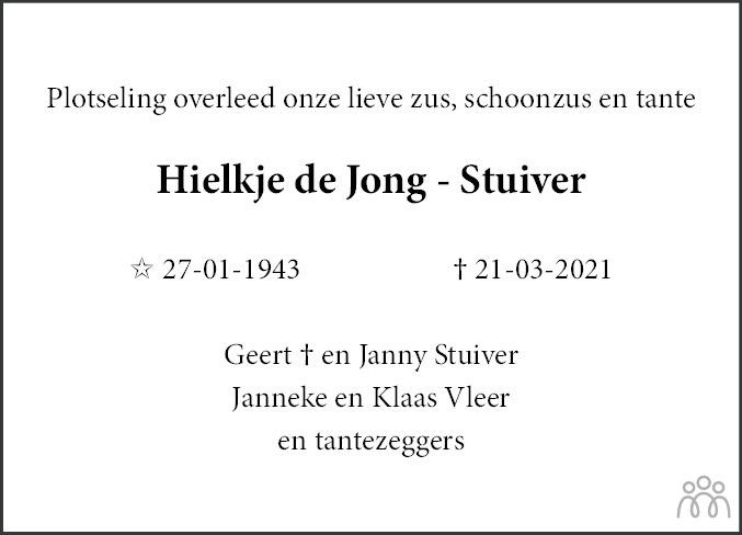 Overlijdensbericht van Hielkje de Jong-Stuiver in Leeuwarder Courant