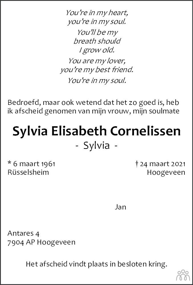 Overlijdensbericht van Sylvia Elisabeth Cornelissen in Hoogeveensche Courant