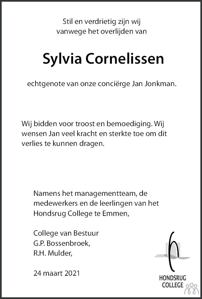 Overlijdensbericht van Sylvia Elisabeth Cornelissen in Dagblad van het Noorden