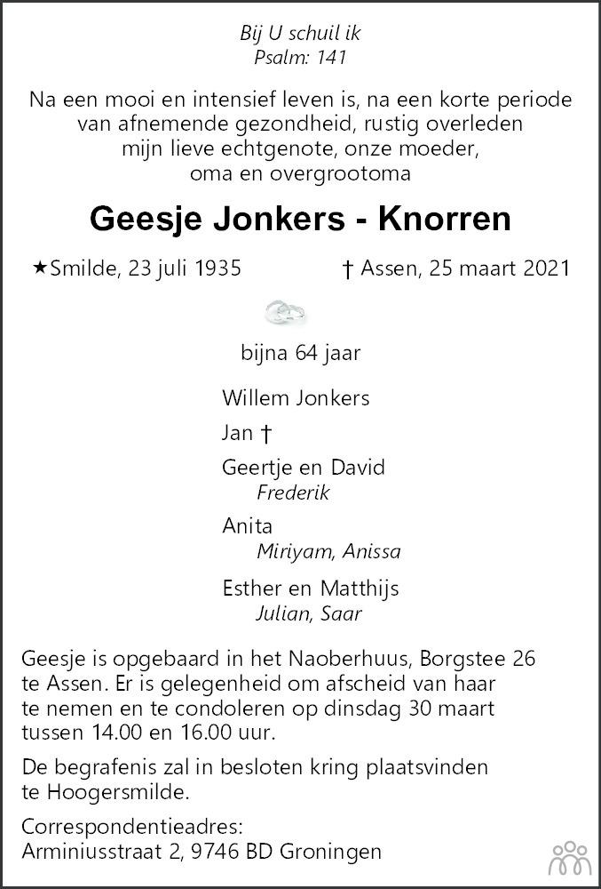 Overlijdensbericht van Geesje Jonkers-Knorren in Dagblad van het Noorden