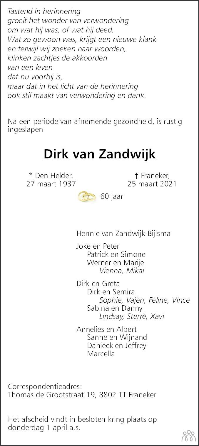 Overlijdensbericht van Dirk van Zandwijk in Leeuwarder Courant