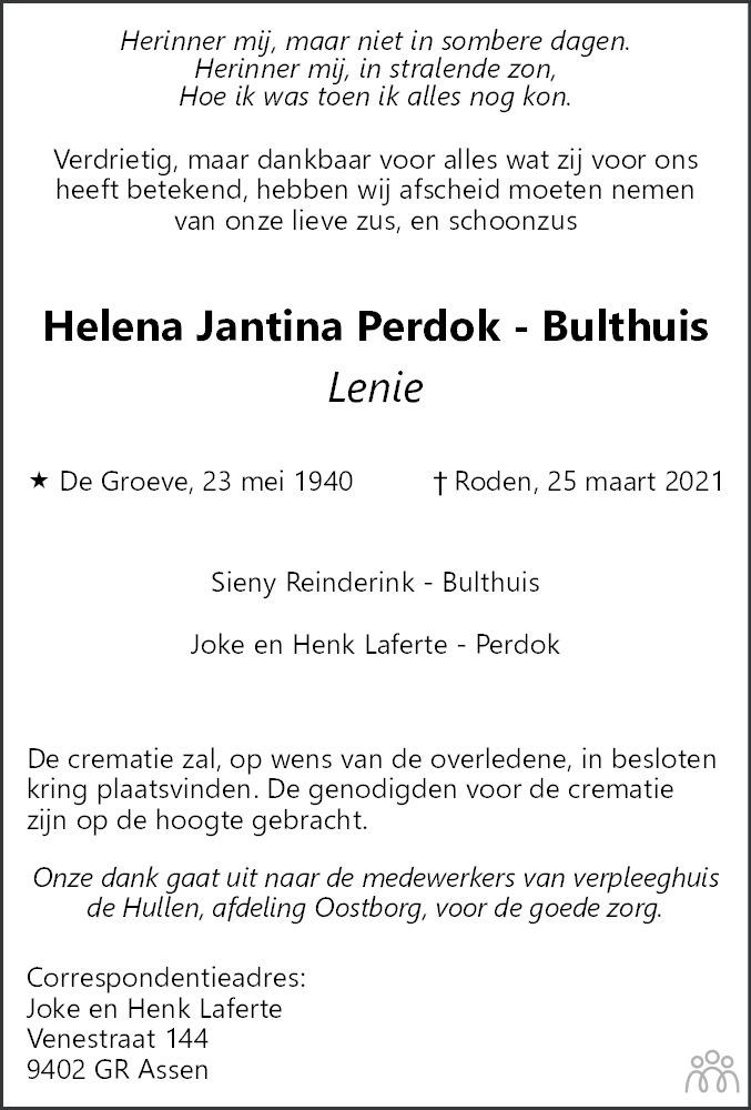 Overlijdensbericht van Helena Jantina (Lenie) Perdok-Bulthuis in Dagblad van het Noorden
