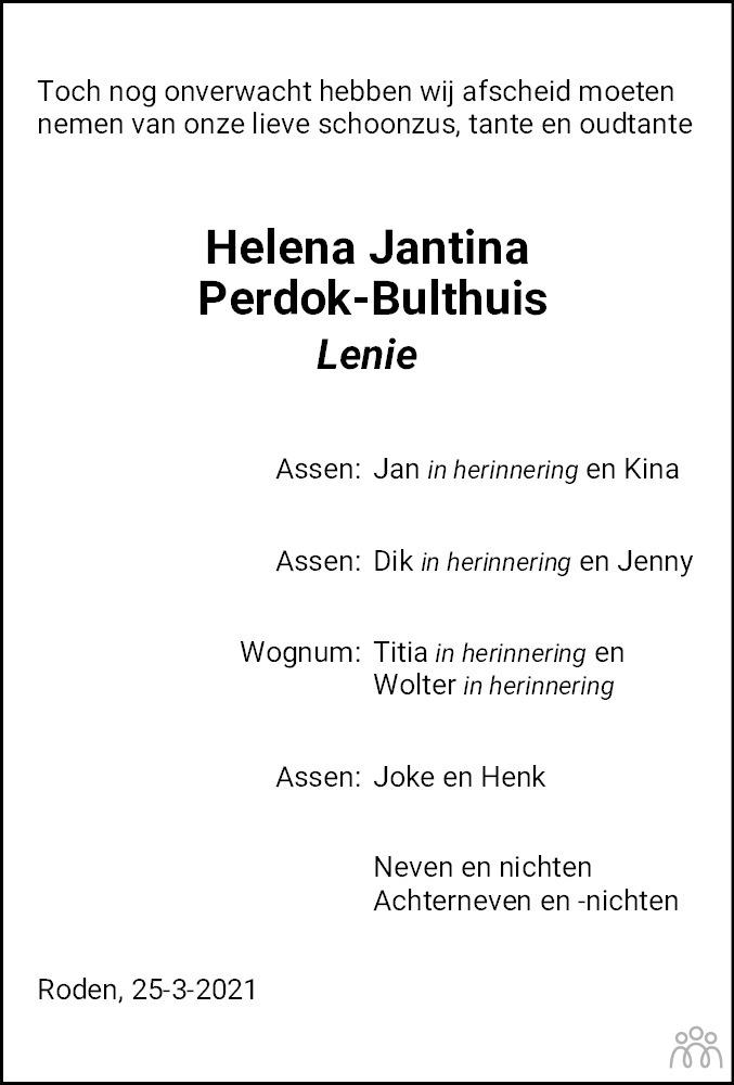 Overlijdensbericht van Helena Jantina (Lenie) Perdok–Bulthuis in Dagblad van het Noorden