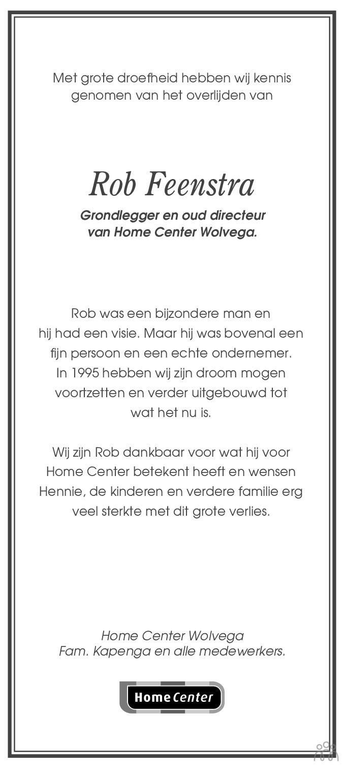 Overlijdensbericht van Rob Feenstra in Leeuwarder Courant
