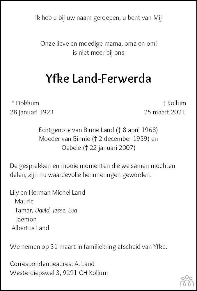 Overlijdensbericht van Yfke Land-Ferwerda in Nieuwsblad Noordoost-Friesland