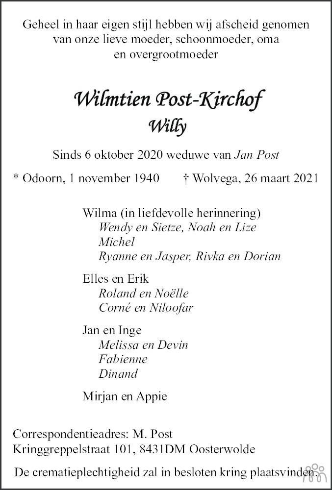 Overlijdensbericht van Wilmtien (Willy) Post-Kirchof in Nieuwe Ooststellingwerver