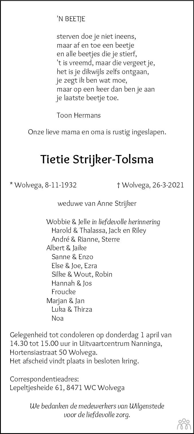 Overlijdensbericht van Tietie Strijker-Tolsma in De Stellingwerf