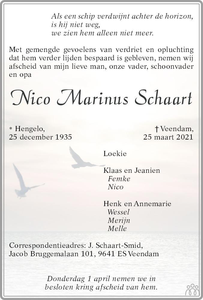 Overlijdensbericht van Nico Marinus Schaart in Veendammer