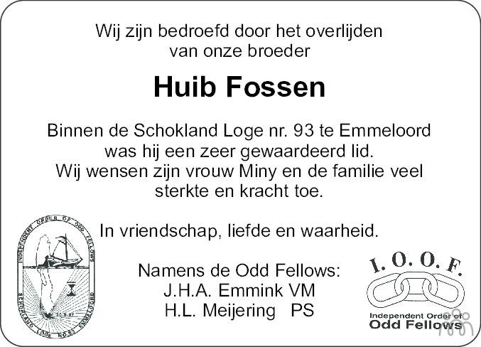 Overlijdensbericht van Hubrecht Elias (Huib) Fossen in Noordoostpolder