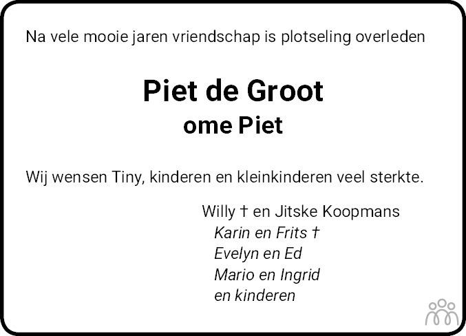 Overlijdensbericht van Pieter (Piet) de Groot in Franeker Courant