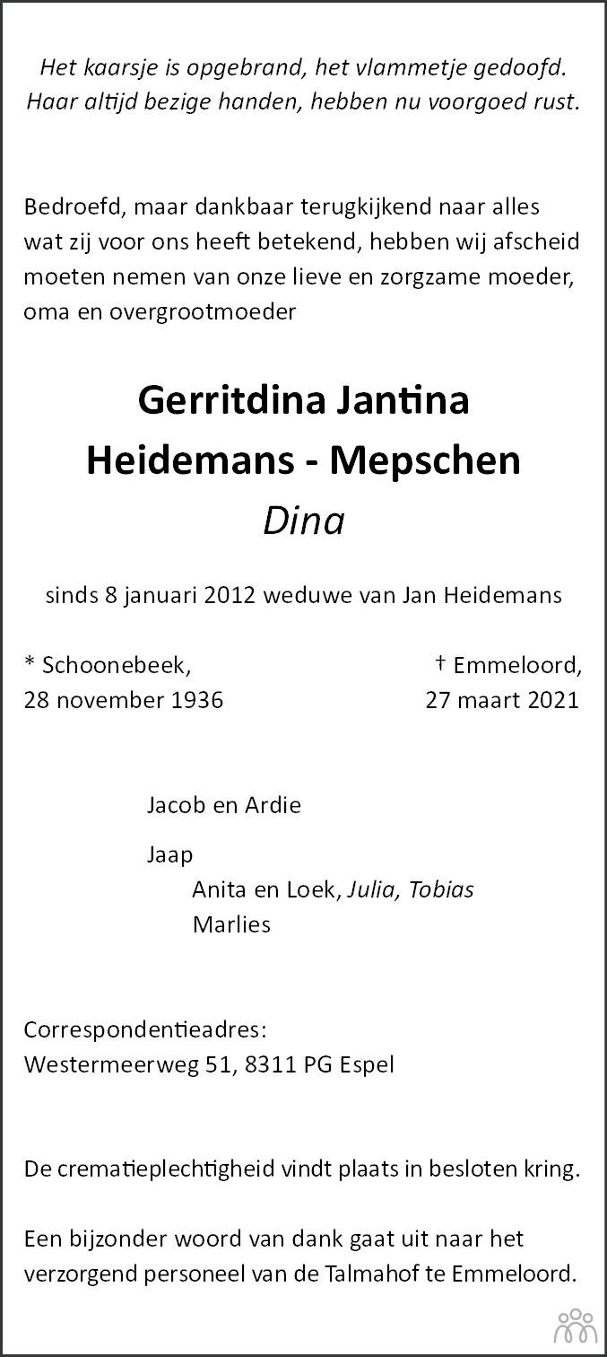 Overlijdensbericht van Gerritdina Jantina (Dina) Heidemans-Mepschen in Noordoostpolder