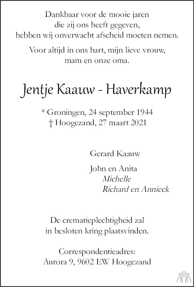 Overlijdensbericht van Jentje Kaauw-Haverkamp in HS-krant