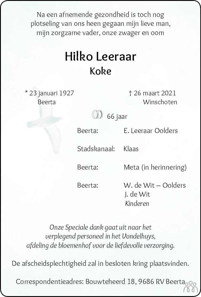 Overlijdensbericht van Hilko (Koke) Leeraar in Dagblad van het Noorden