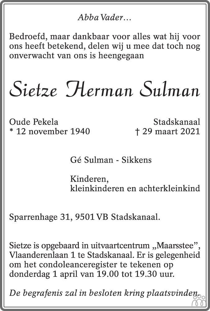 Overlijdensbericht van Sietze Herman Sulman in Dagblad van het Noorden