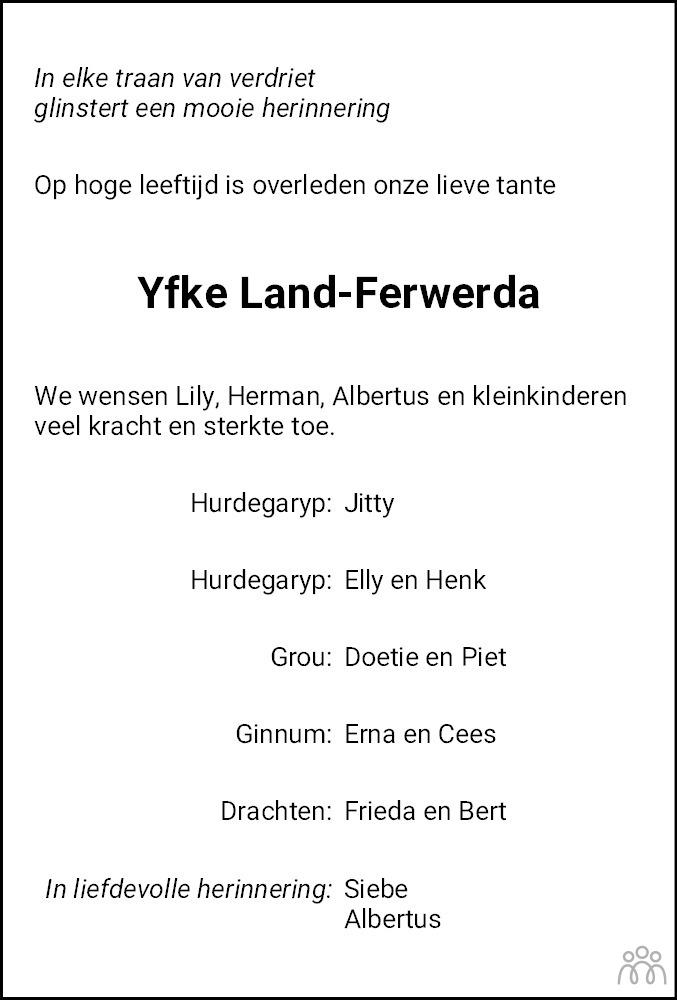 Overlijdensbericht van Yfke Land-Ferwerda in Dokkum Kollum Combinatie