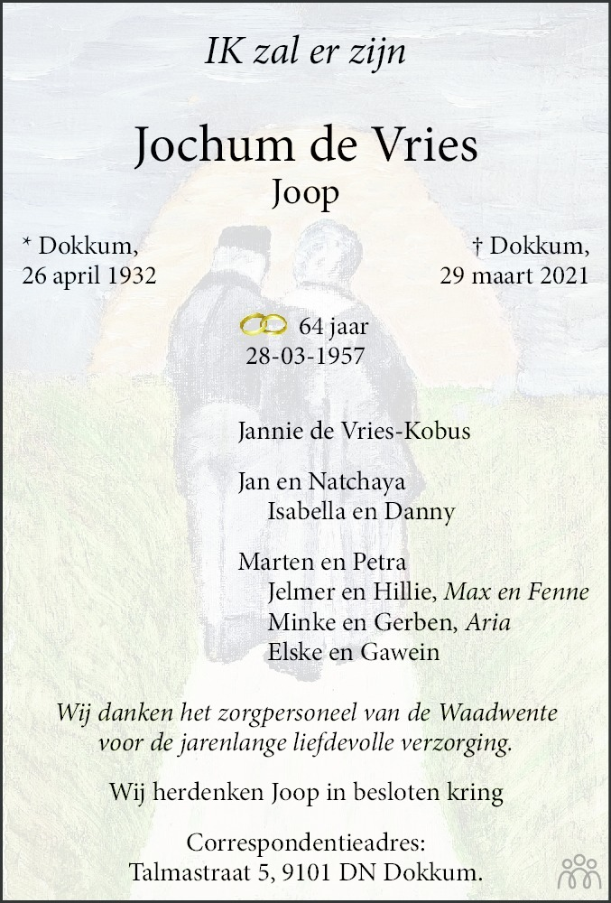 Overlijdensbericht van Jochum (Joop) de Vries in Leeuwarder Courant