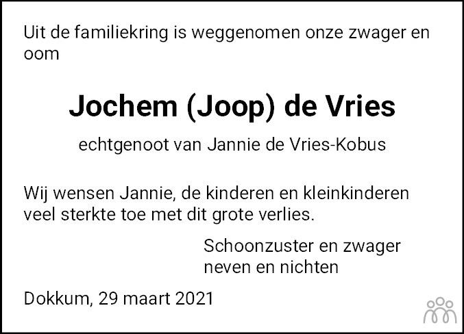 Overlijdensbericht van Jochum (Joop) de Vries in Dokkum Kollum Combinatie