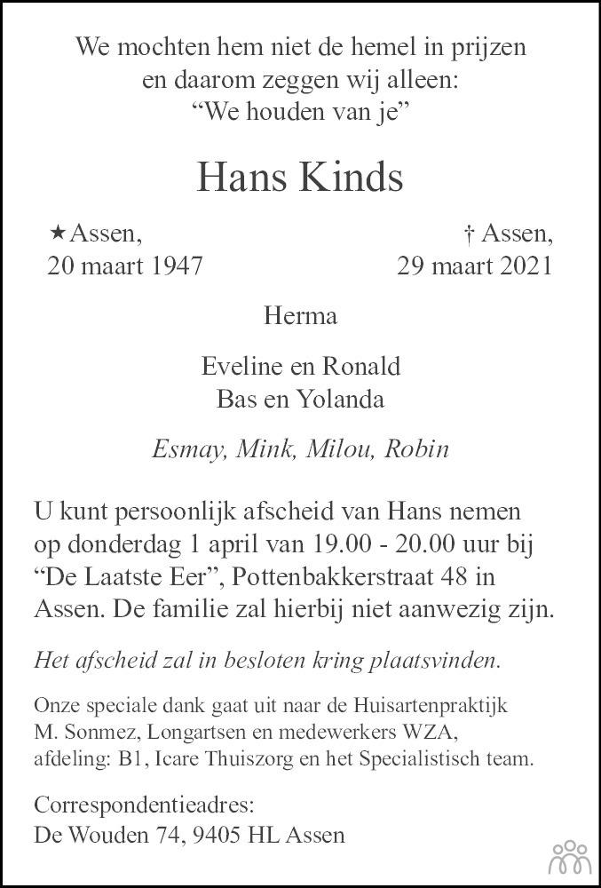 Overlijdensbericht van Hans Kinds in Dagblad van het Noorden
