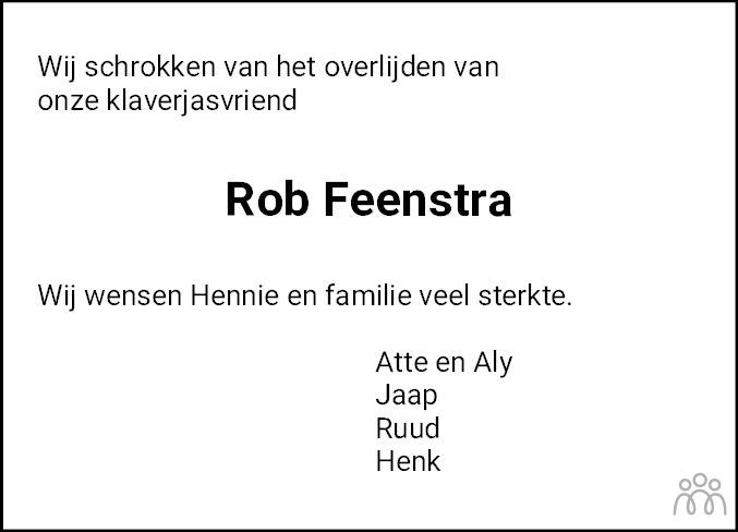 Overlijdensbericht van Rob Feenstra in De Stellingwerf