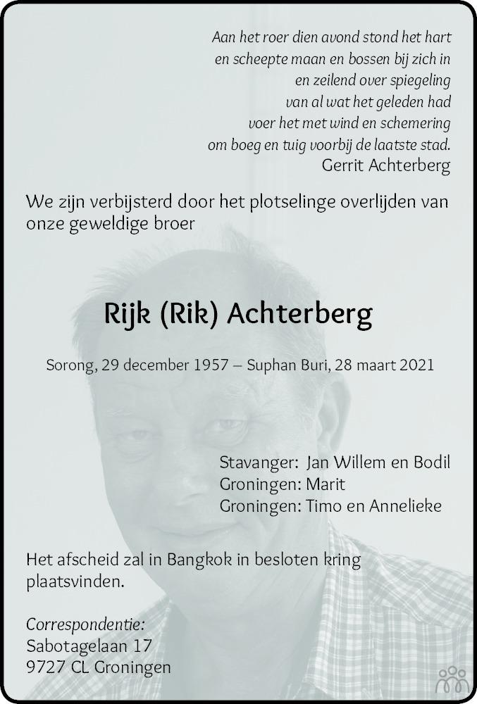 Overlijdensbericht van Rijk (Rik) Achterberg in Dagblad van het Noorden