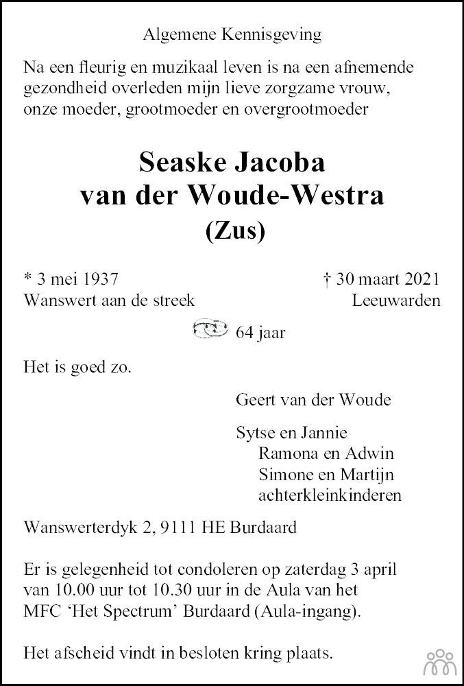 Overlijdensbericht van Seaske Jacoba (Zus) van der Woude-Westra in Leeuwarder Courant
