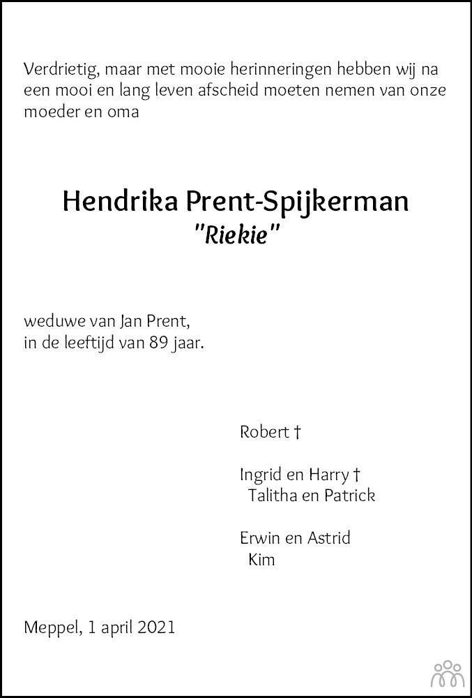 Overlijdensbericht van Hendrika (Riekie) Prent-Sprijkerman in Meppeler Courant