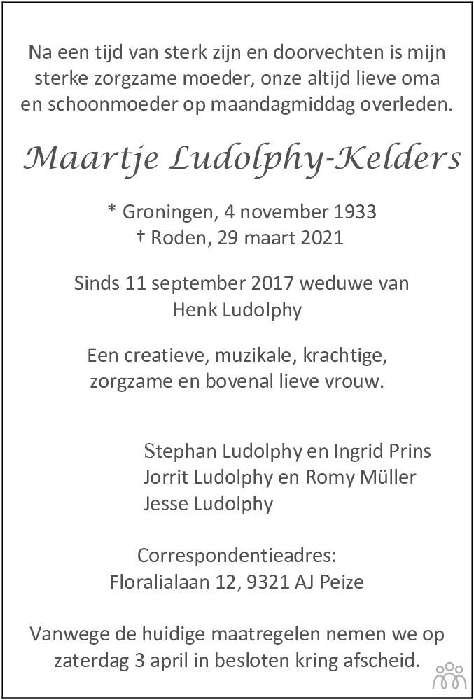 Overlijdensbericht van Maartje Ludolphy-Kelders in Dagblad van het Noorden