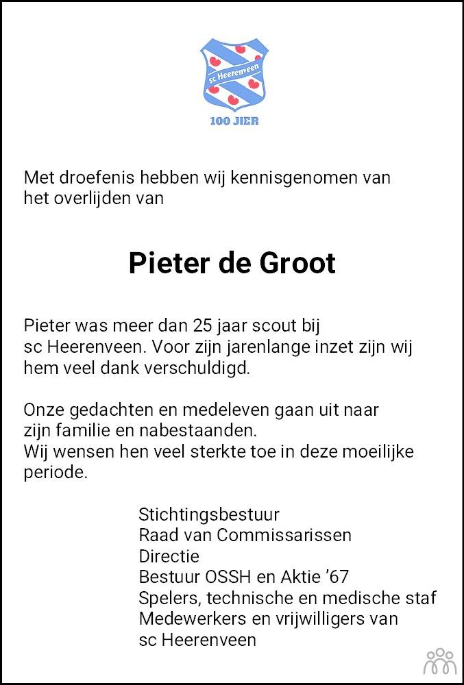 Overlijdensbericht van Pieter (Piet) de Groot in Leeuwarder Courant
