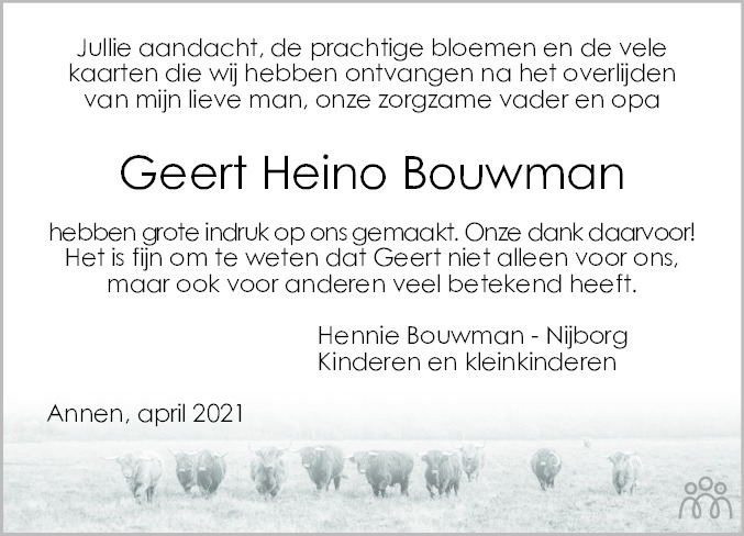 Overlijdensbericht van Geert Heino (Geert) Bouwman in Dagblad van het Noorden