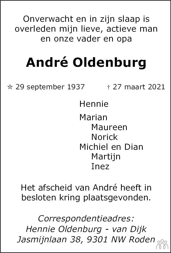 Overlijdensbericht van André Oldenburg in Dagblad van het Noorden