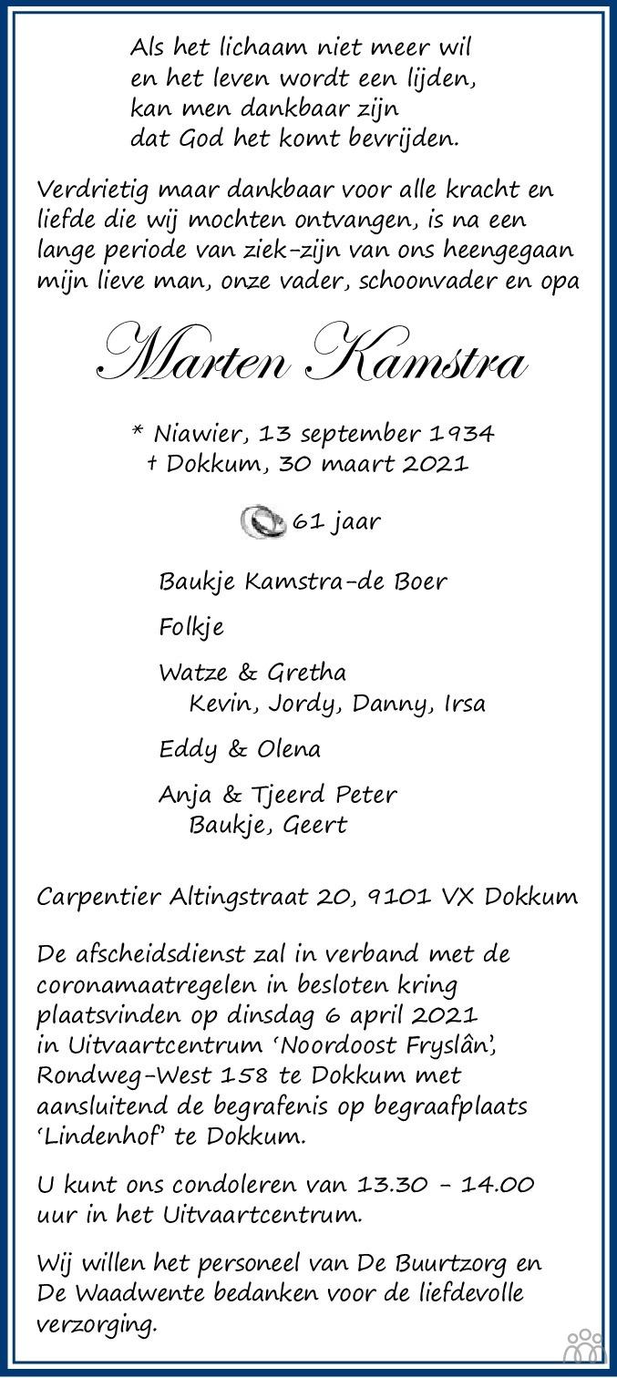 Overlijdensbericht van Marten Kamstra in Leeuwarder Courant