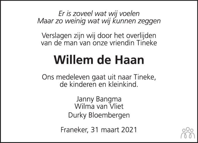 Overlijdensbericht van Willem Joost Johan de Haan in Leeuwarder Courant