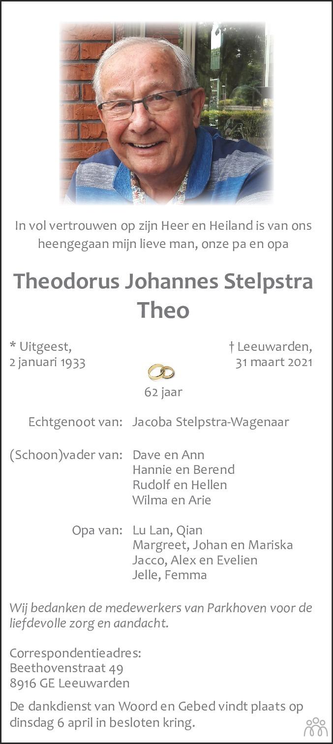 Overlijdensbericht van Theodorus Johannes (Theo) Stelpstra in Leeuwarder Courant