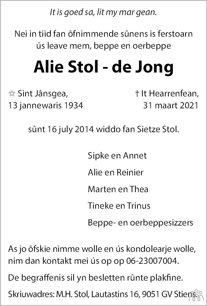 Overlijdensbericht van Alie Stol-de Jong in Leeuwarder Courant