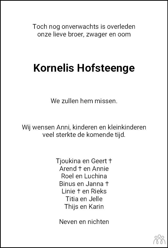 Overlijdensbericht van Kornelis Hofsteenge in Dagblad van het Noorden
