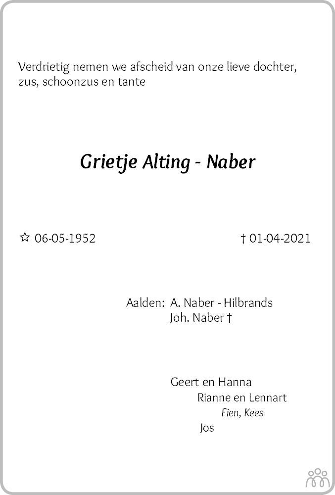 Overlijdensbericht van Grietje Alting-Naber in Dagblad van het Noorden