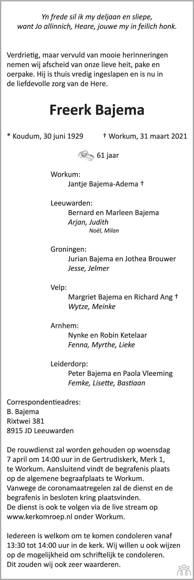 Overlijdensbericht van Freerk Bajema in Leeuwarder Courant