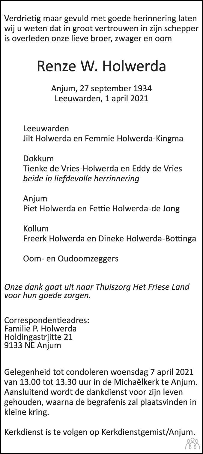 Overlijdensbericht van Renze W. Holwerda in Leeuwarder Courant