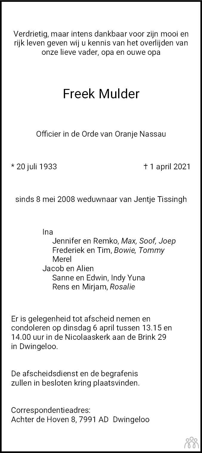 Overlijdensbericht van Freek Mulder in Dagblad van het Noorden