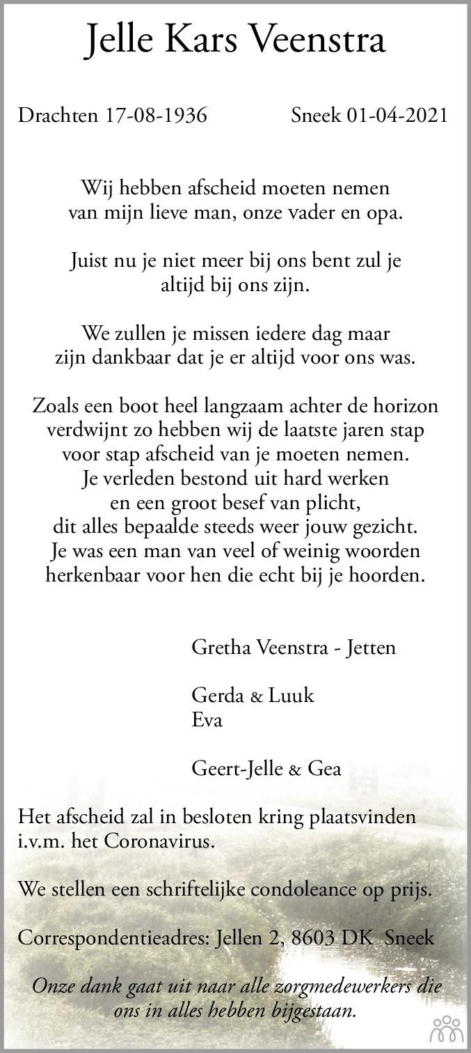 Overlijdensbericht van Jelle Kars Veenstra in Leeuwarder Courant