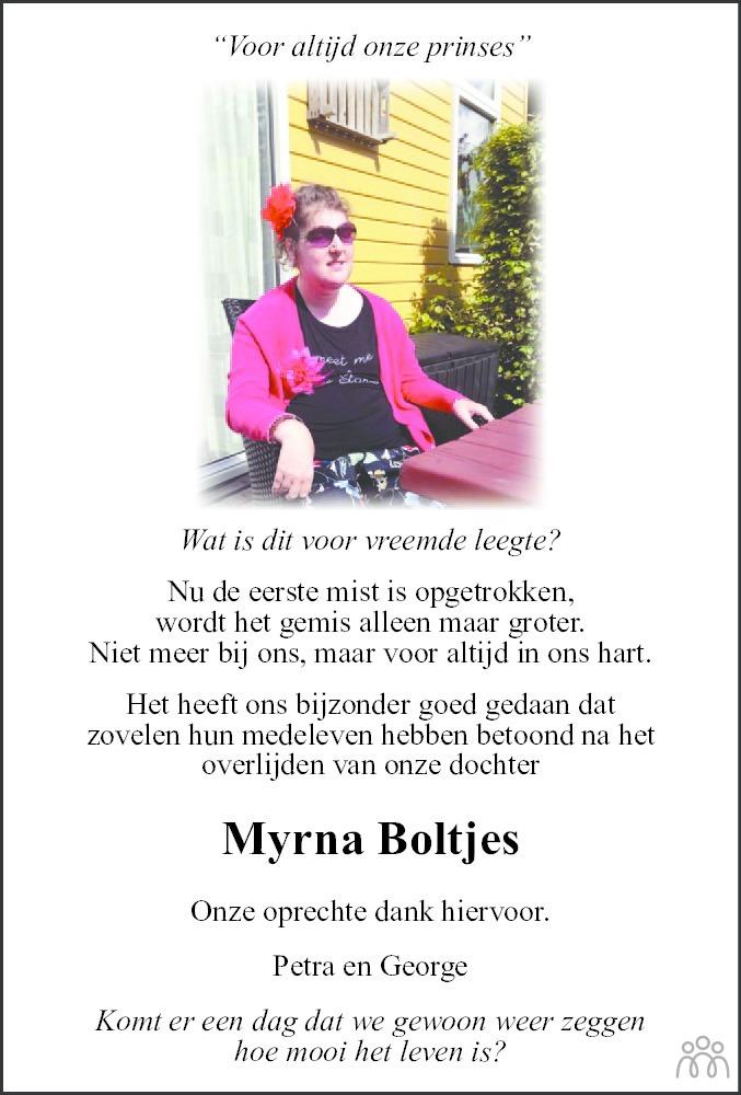 Overlijdensbericht van Myrna Boltjes in De Stellingwerf