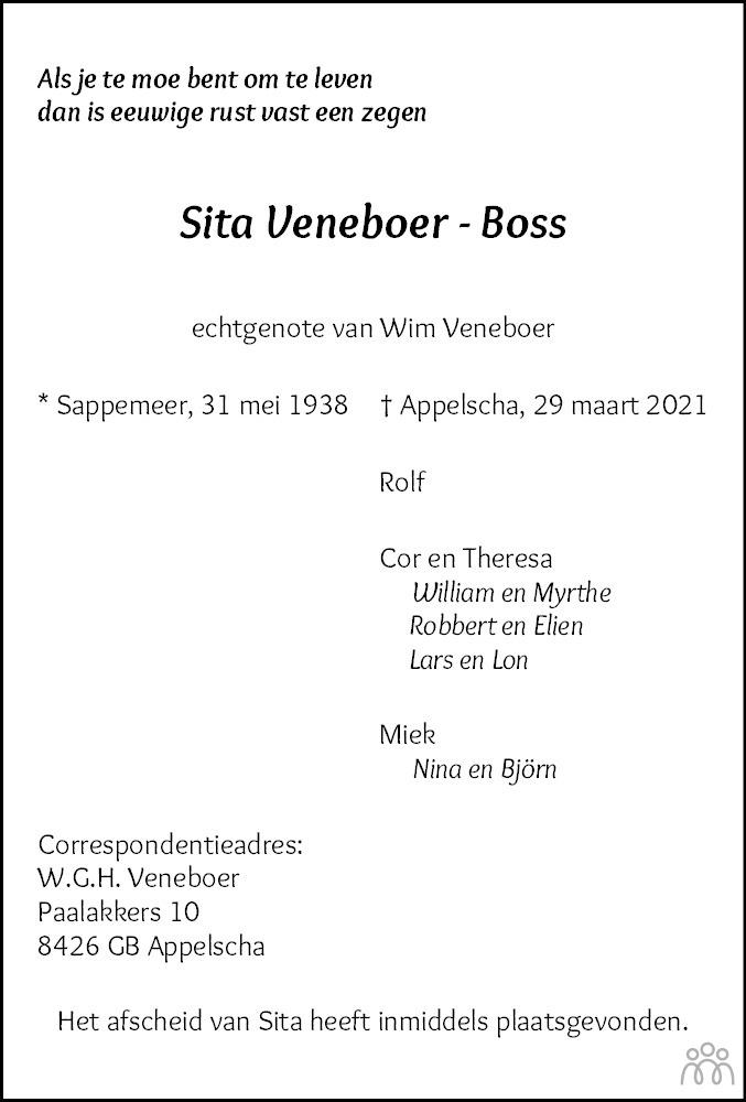 Overlijdensbericht van Sita Veneboer-Boss in Nieuwe Ooststellingwerver