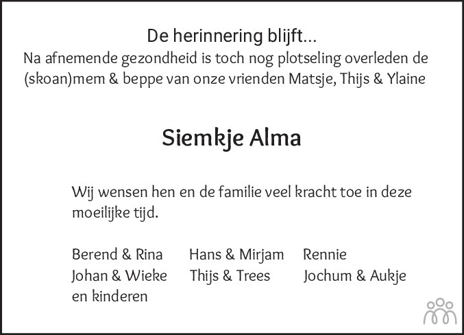 Overlijdensbericht van Siemkje Alma in Nieuwsblad Noordoost-Friesland