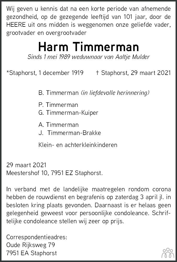 Overlijdensbericht van Harm Timmerman in De Staphorster