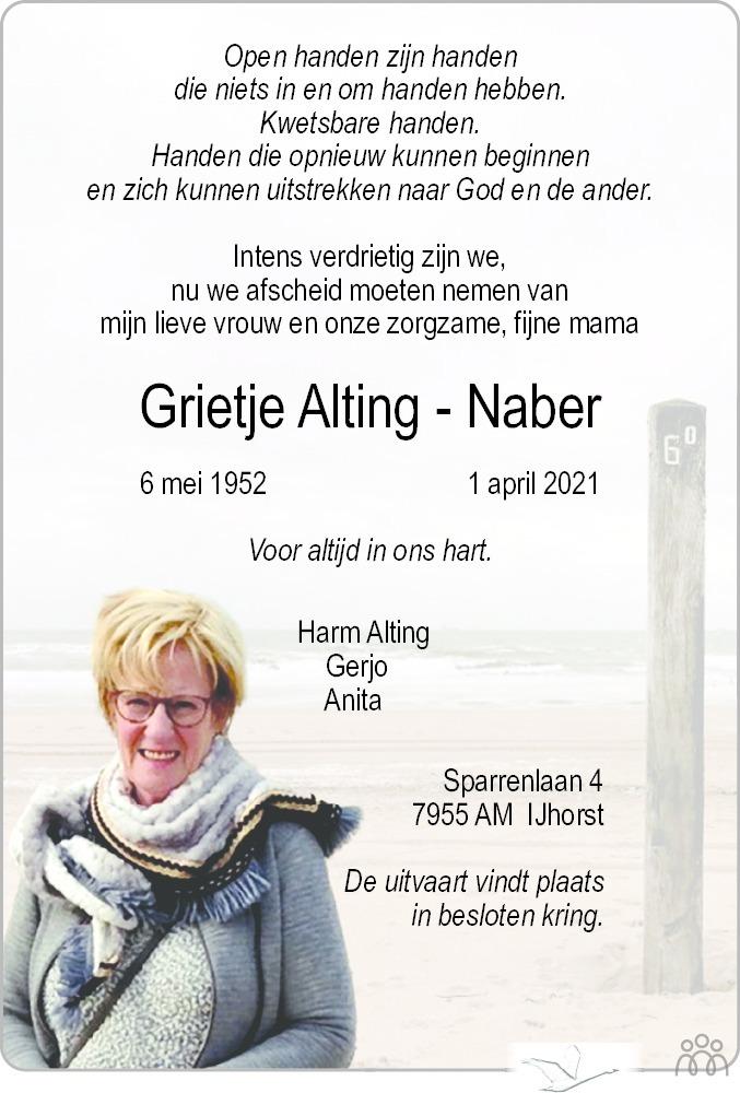 Overlijdensbericht van Grietje Alting-Naber in De Staphorster