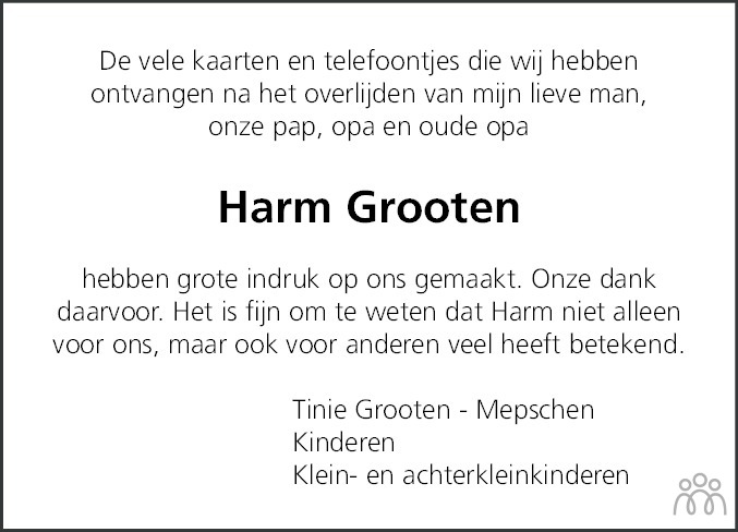 Overlijdensbericht van Harm Grooten in Coevorden Huis aan Huis