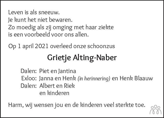 Overlijdensbericht van Grietje Alting-Naber in Coevorden Huis aan Huis