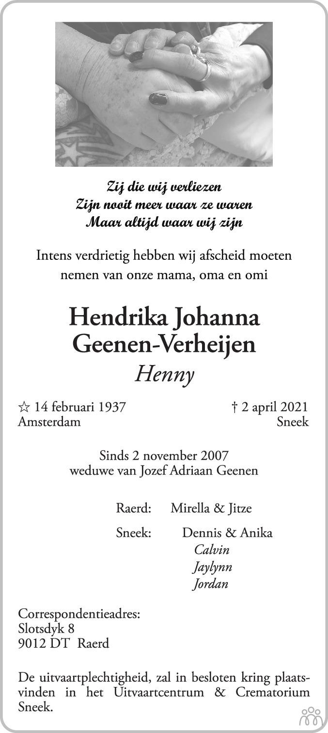 Overlijdensbericht van Hendrika Johanna (Henny) Geenen-Verheijen in Leeuwarder Courant