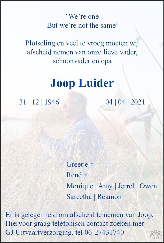 Overlijdensbericht van Joop Luider in Dagblad van het Noorden