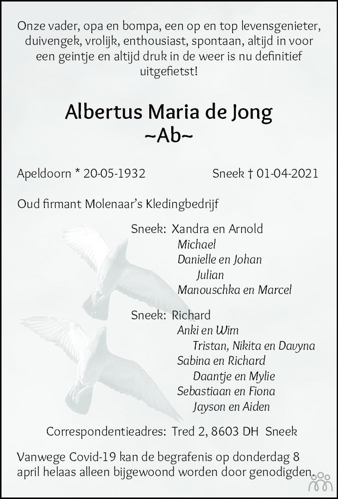 Overlijdensbericht van Albertus Maria (Ab) de Jong in Leeuwarder Courant